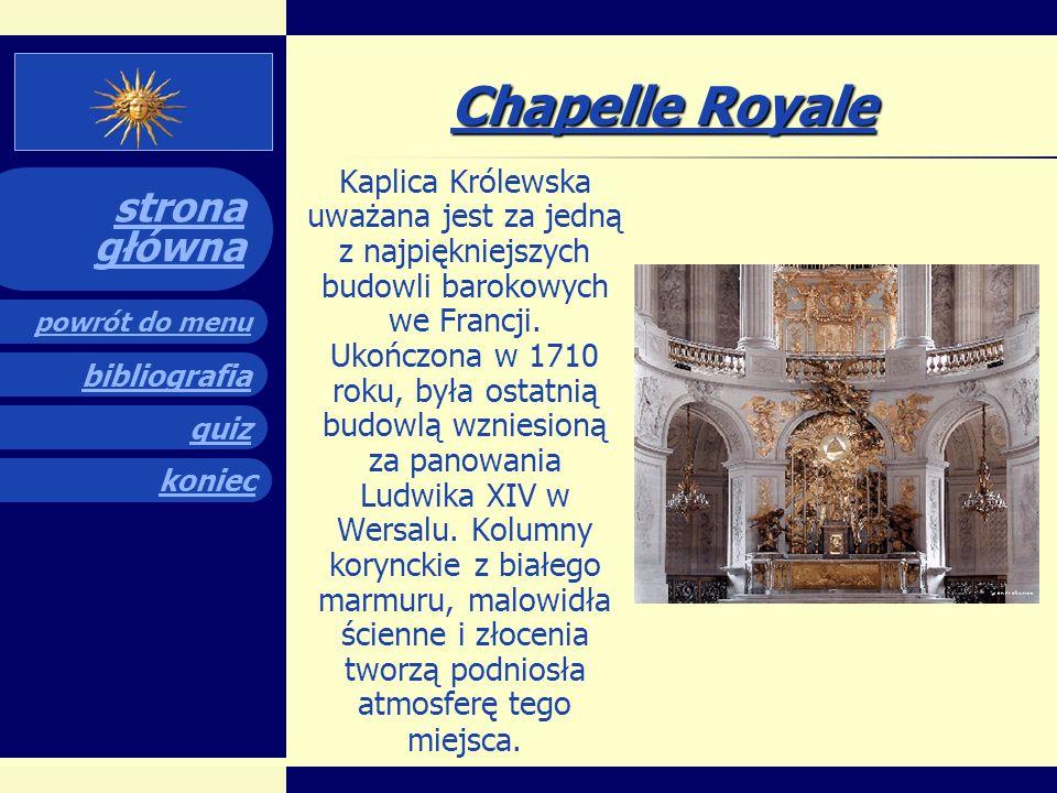 quiz powrót do menu koniec bibliografia strona główna Galeria zwierciadlana Jest największym pomieszczeniem pałacu, jej wymiary to ok. 72 m długości,