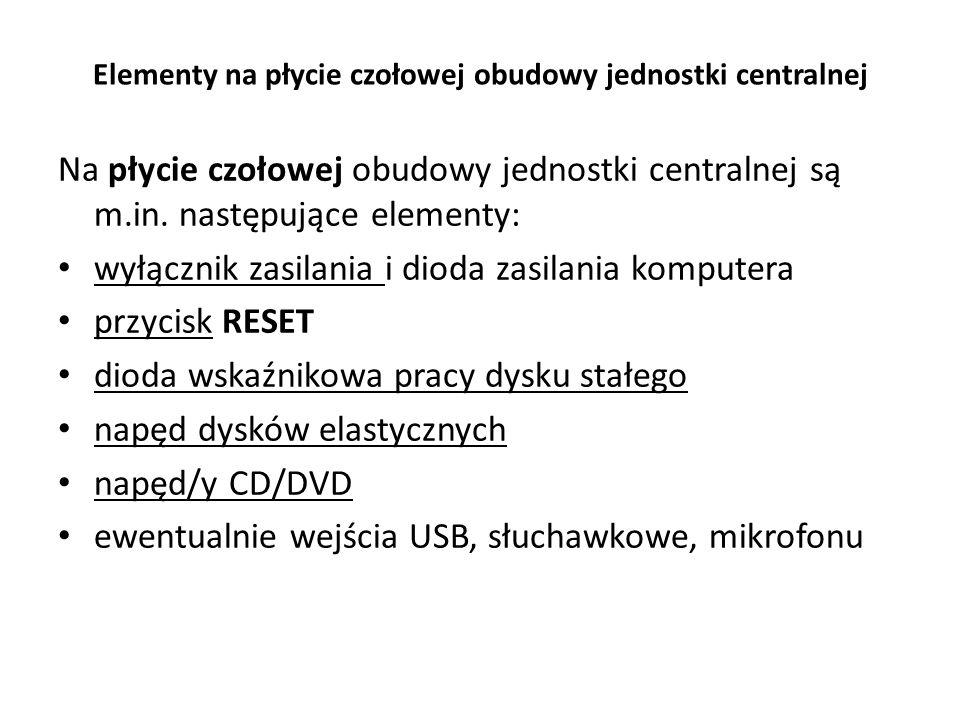 Elementy na płycie czołowej obudowy jednostki centralnej Na płycie czołowej obudowy jednostki centralnej są m.in. następujące elementy: wyłącznik zasi
