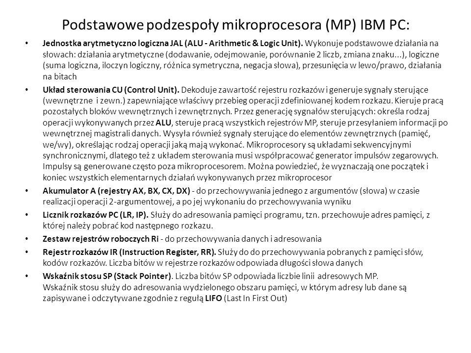Podstawowe podzespoły mikroprocesora (MP) IBM PC: Jednostka arytmetyczno logiczna JAL (ALU - Arithmetic & Logic Unit). Wykonuje podstawowe działania n