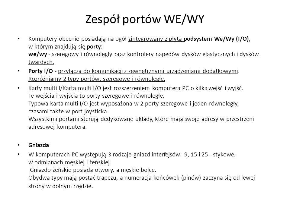 Zespół portów WE/WY Komputery obecnie posiadają na ogół zintegrowany z płytą podsystem We/Wy (I/O), w którym znajdują się porty: we/wy - szeregowy i r