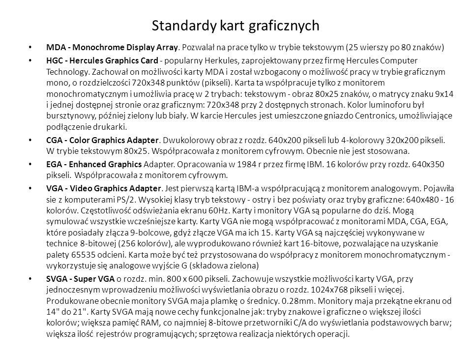 Standardy kart graficznych MDA - Monochrome Display Array. Pozwalał na prace tylko w trybie tekstowym (25 wierszy po 80 znaków) HGC - Hercules Graphic