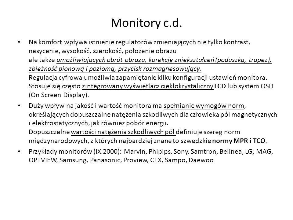 Monitory c.d. Na komfort wpływa istnienie regulatorów zmieniających nie tylko kontrast, nasycenie, wysokość, szerokość, położenie obrazu ale także umo