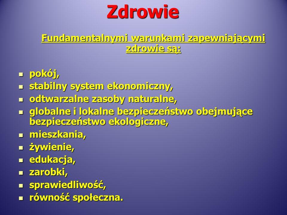 Fundamentalnymi warunkami zapewniającymi zdrowie są: pokój, pokój, stabilny system ekonomiczny, stabilny system ekonomiczny, odtwarzalne zasoby natura