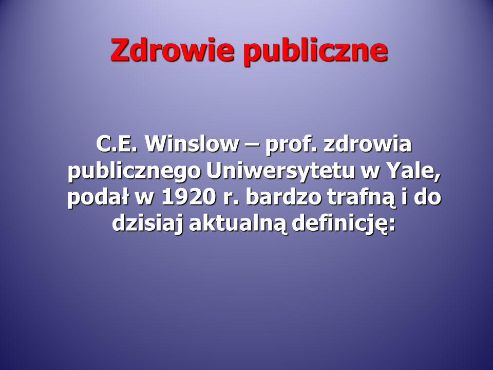 C.E. Winslow – prof. zdrowia publicznego Uniwersytetu w Yale, podał w 1920 r. bardzo trafną i do dzisiaj aktualną definicję: Zdrowie publiczne