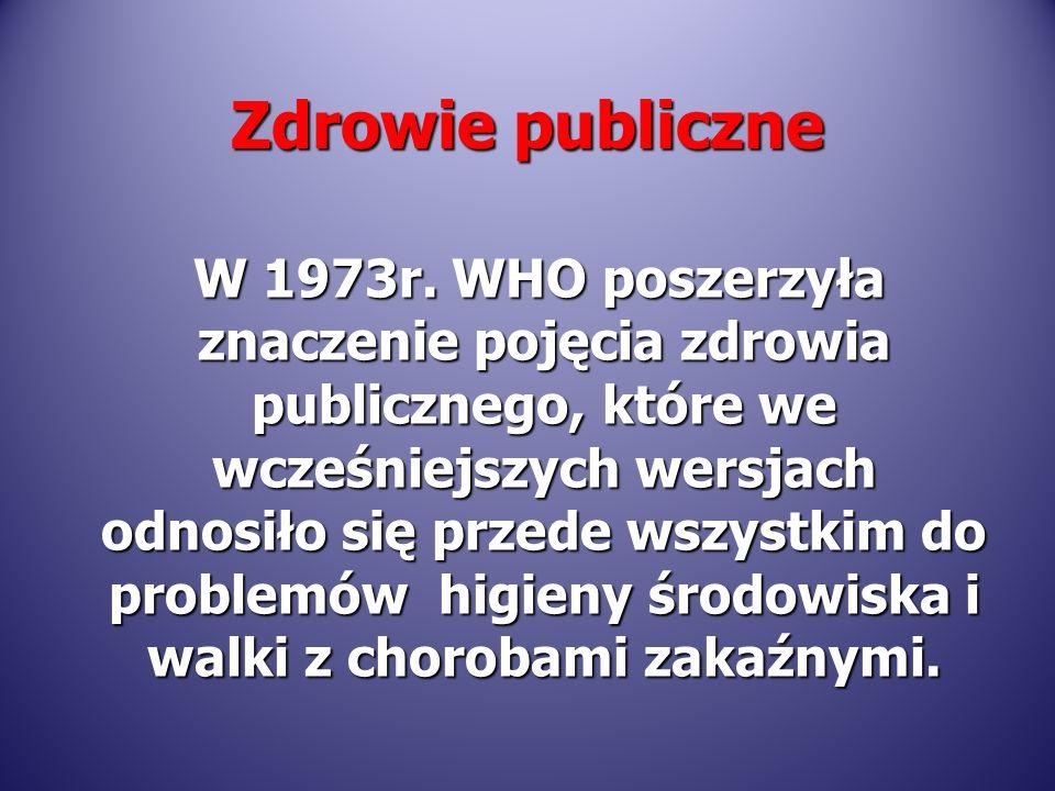 W 1973r. WHO poszerzyła znaczenie pojęcia zdrowia publicznego, które we wcześniejszych wersjach odnosiło się przede wszystkim do problemów higieny śro