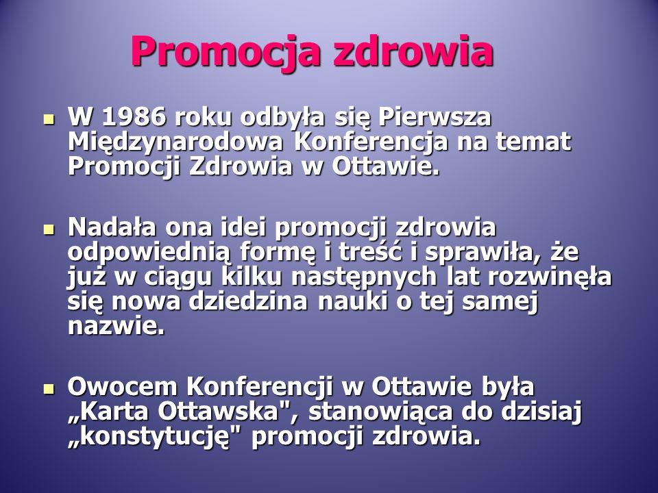 W 1986 roku odbyła się Pierwsza Międzynarodowa Konferencja na temat Promocji Zdrowia w Ottawie. W 1986 roku odbyła się Pierwsza Międzynarodowa Konfere