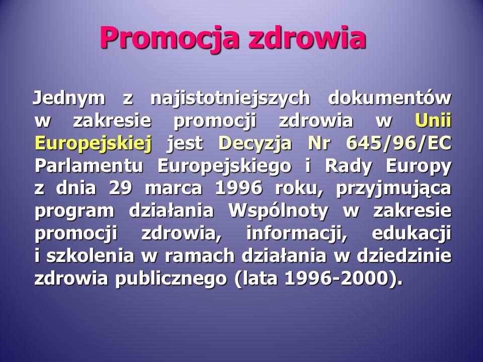 Jednym z najistotniejszych dokumentów w zakresie promocji zdrowia w Unii Europejskiej jest Decyzja Nr 645/96/EC Parlamentu Europejskiego i Rady Europy z dnia 29 marca 1996 roku, przyjmująca program działania Wspólnoty w zakresie promocji zdrowia, informacji, edukacji i szkolenia w ramach działania w dziedzinie zdrowia publicznego (lata 1996-2000).
