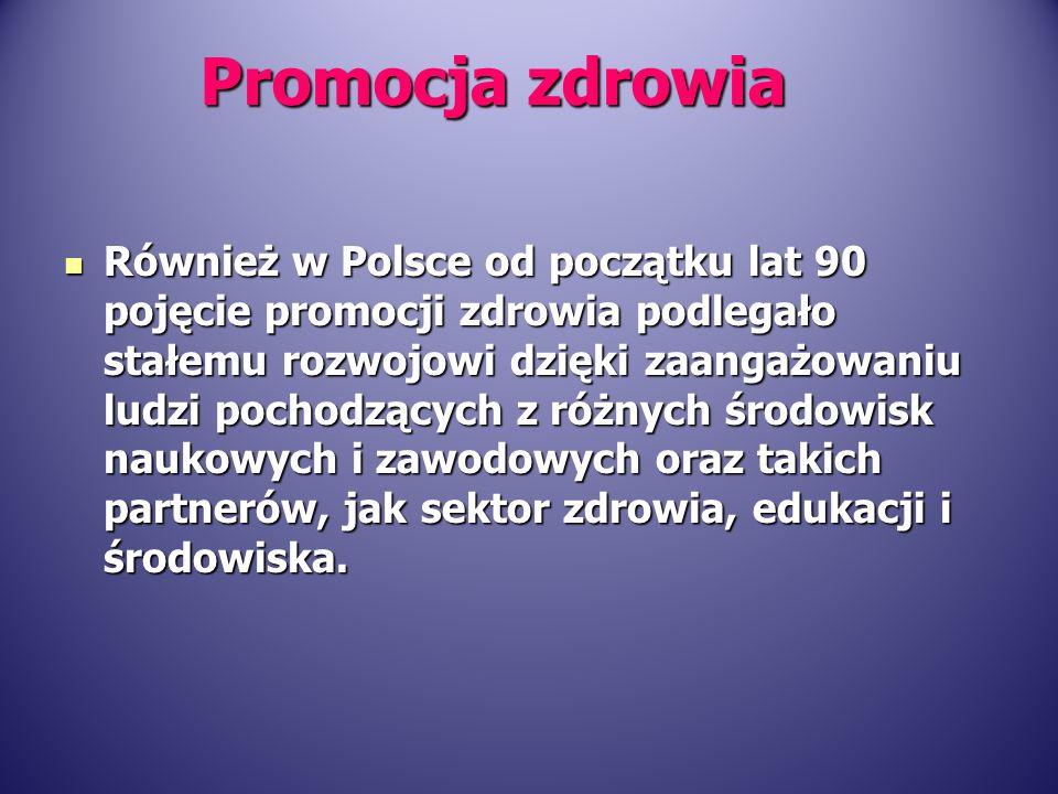 Również w Polsce od początku lat 90 pojęcie promocji zdrowia podlegało stałemu rozwojowi dzięki zaangażowaniu ludzi pochodzących z różnych środowisk n