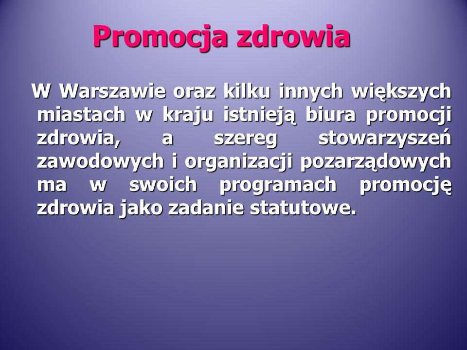 W Warszawie oraz kilku innych większych miastach w kraju istnieją biura promocji zdrowia, a szereg stowarzyszeń zawodowych i organizacji pozarządowych ma w swoich programach promocję zdrowia jako zadanie statutowe.