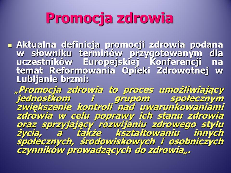Aktualna definicja promocji zdrowia podana w słowniku terminów przygotowanym dla uczestników Europejskiej Konferencji na temat Reformowania Opieki Zdr