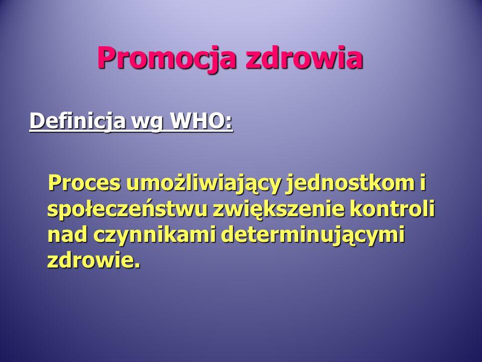 Definicja wg WHO: Proces umożliwiający jednostkom i społeczeństwu zwiększenie kontroli nad czynnikami determinującymi zdrowie. Proces umożliwiający je