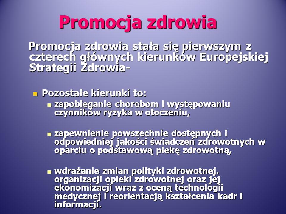 Promocja zdrowia stała się pierwszym z czterech głównych kierunków Europejskiej Strategii Zdrowia- Promocja zdrowia stała się pierwszym z czterech głó