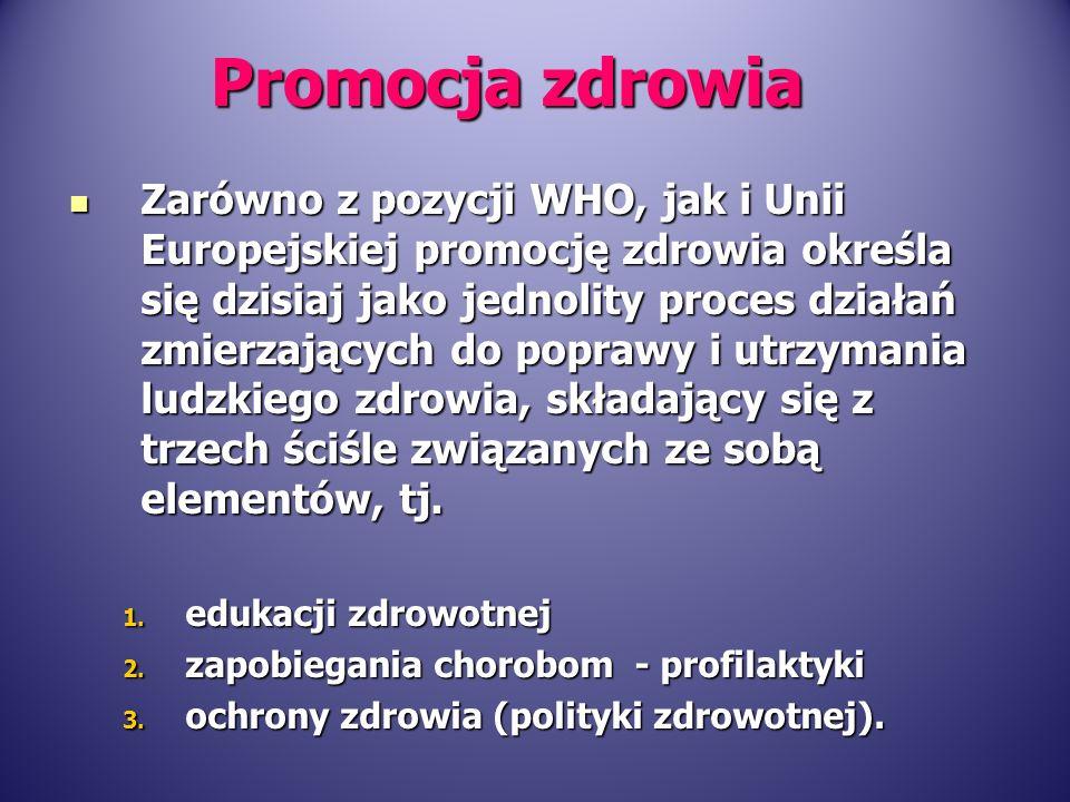 Zarówno z pozycji WHO, jak i Unii Europejskiej promocję zdrowia określa się dzisiaj jako jednolity proces działań zmierzających do poprawy i utrzymani