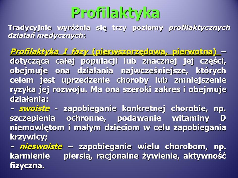 Profilaktyka Tradycyjnie wyr ó żnia się trzy poziomy profilaktycznych działań medycznych: Profilaktyka I fazy (pierwszorzędowa, pierwotna) – dotycząca