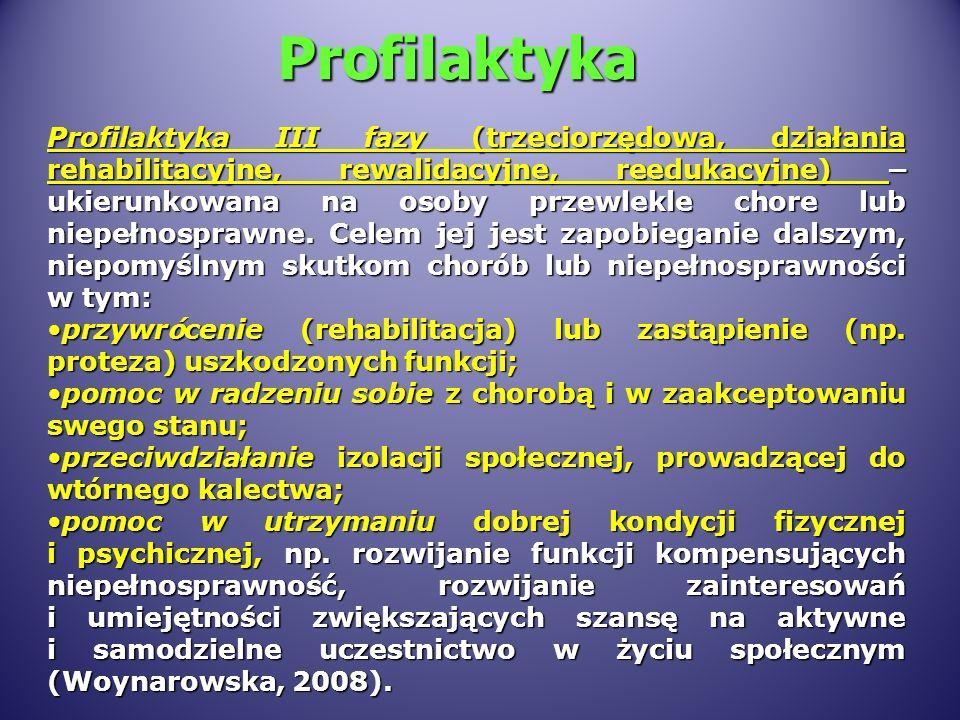 Profilaktyka Profilaktyka III fazy (trzeciorzędowa, działania rehabilitacyjne, rewalidacyjne, reedukacyjne) – ukierunkowana na osoby przewlekle chore lub niepełnosprawne.