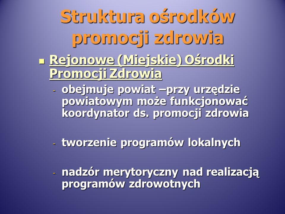 Struktura ośrodków promocji zdrowia Rejonowe (Miejskie) Ośrodki Promocji Zdrowia Rejonowe (Miejskie) Ośrodki Promocji Zdrowia - obejmuje powiat –przy