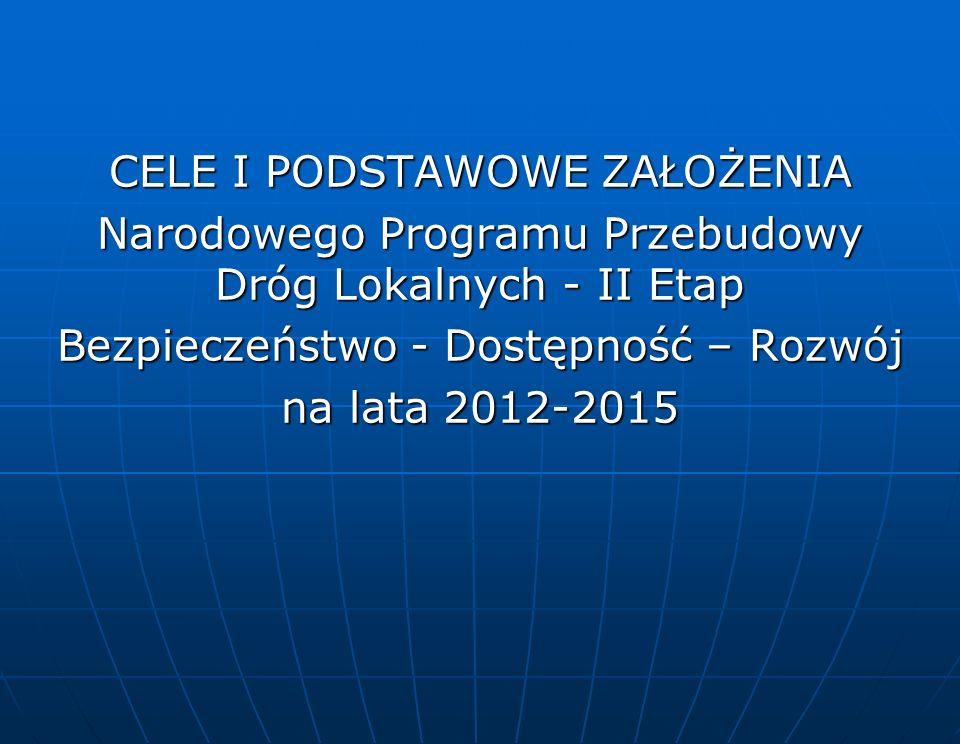 CELE I PODSTAWOWE ZAŁOŻENIA Narodowego Programu Przebudowy Dróg Lokalnych - II Etap Bezpieczeństwo - Dostępność – Rozwój na lata 2012-2015