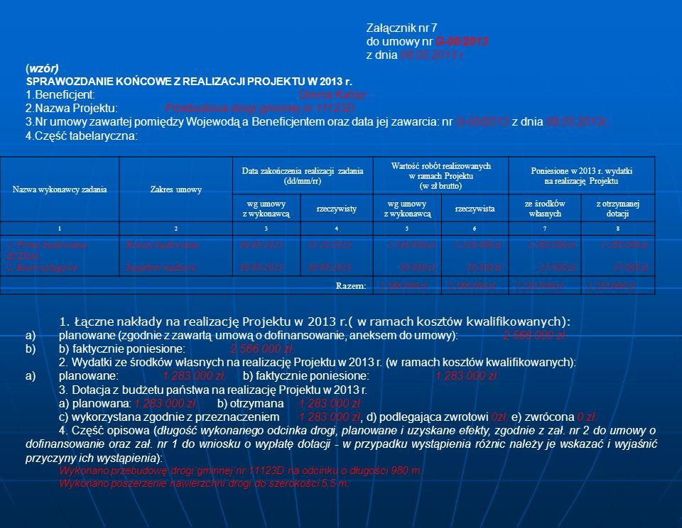 Załącznik nr 7 do umowy nr G-00/2013 z dnia 08.05.2013 r.
