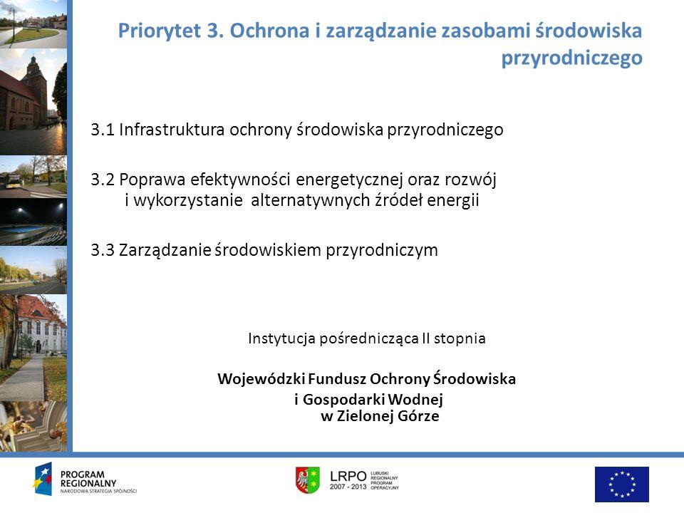 Priorytet 3. Ochrona i zarządzanie zasobami środowiska przyrodniczego 3.1 Infrastruktura ochrony środowiska przyrodniczego 3.2 Poprawa efektywności en