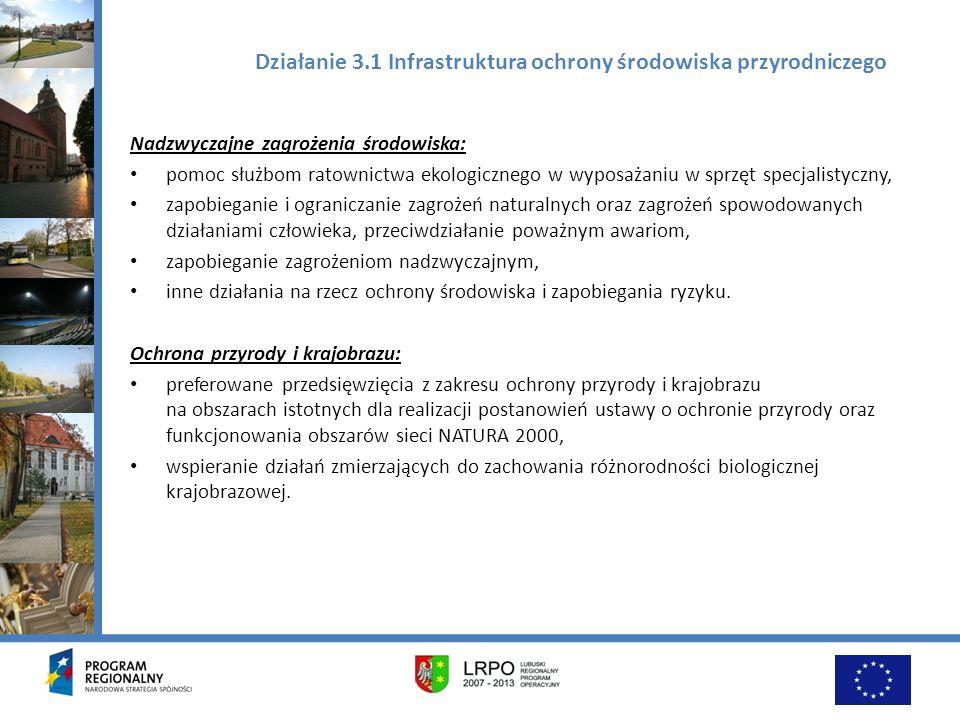 Działanie 3.1 Infrastruktura ochrony środowiska przyrodniczego Nadzwyczajne zagrożenia środowiska: pomoc służbom ratownictwa ekologicznego w wyposażan