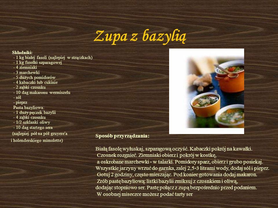 Zupa cebulowa francuska Składniki: - 1/2 kg cebuli - 5 dag masła - 1 łyżeczka suszonego tymianku - 1-2 ząbki czosnku - szczypta szałwii - listek lauro