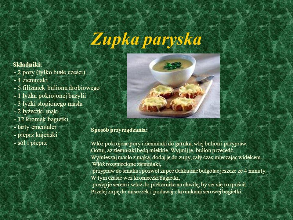 Zupa z bazylią Składniki: - 1 kg białej fasoli (najlepiej w strączkach) - 1 kg fasolki szparagowej - 4 ziemniaki - 3 marchewki - 5 dużych pomidorów -