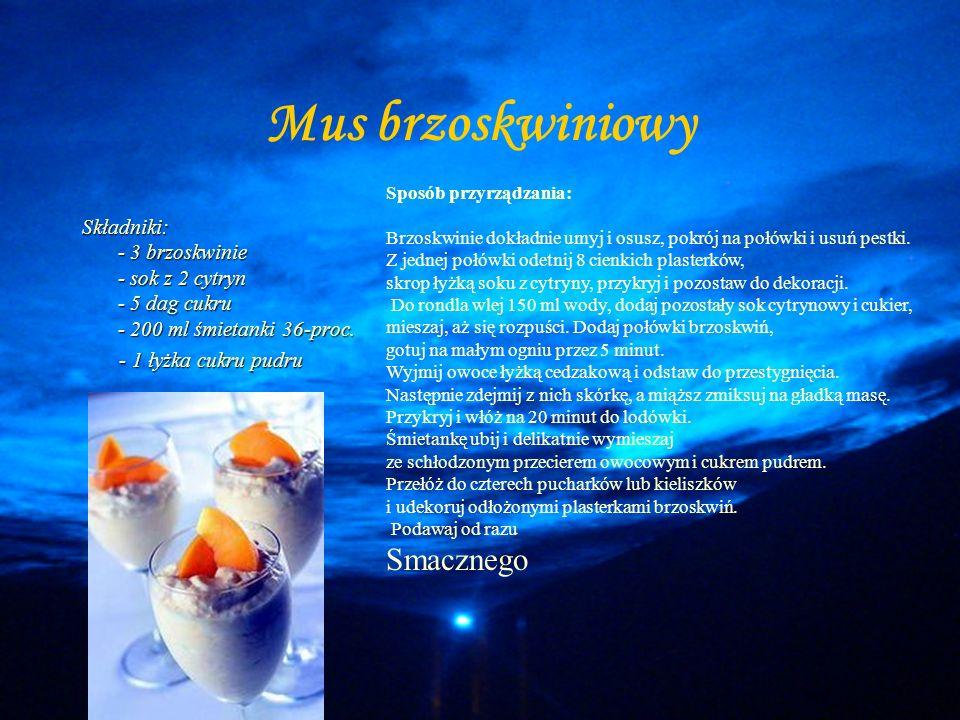 Deser Mus brzoskwiniowy Quenelles - kluseczki z kaszy manny Sorbet cytrynowy