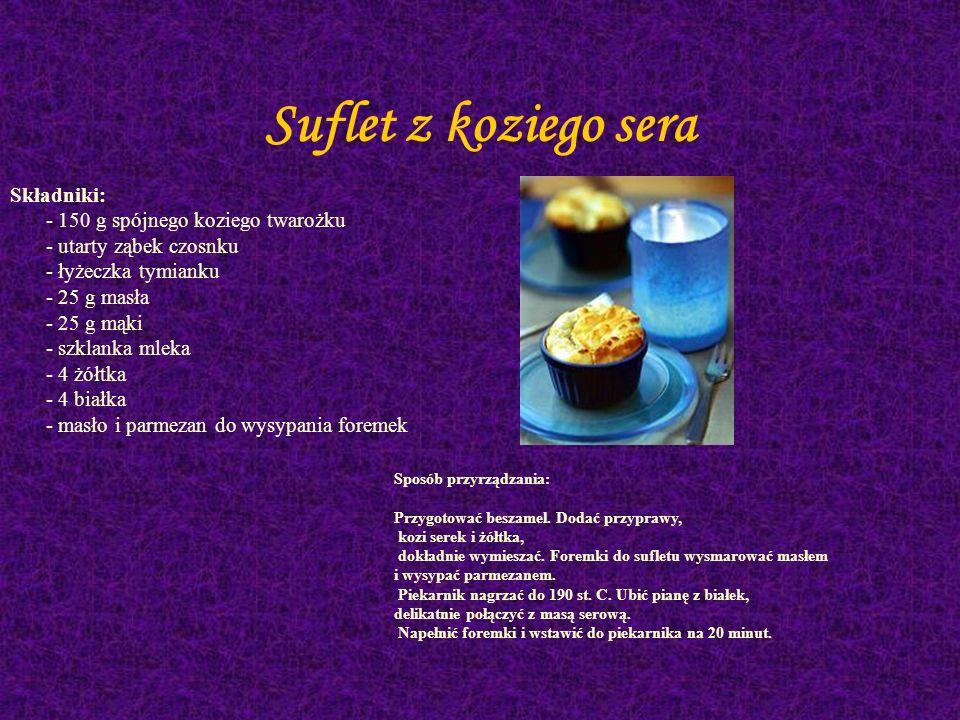 Tarta (Francja) Składniki: - 30 dag mąki - 18 dag masła lub margaryny - łyżka oliwy - 3-4 dorodne pory (z długą białą częścią) - 15-20 dag średnio tłu