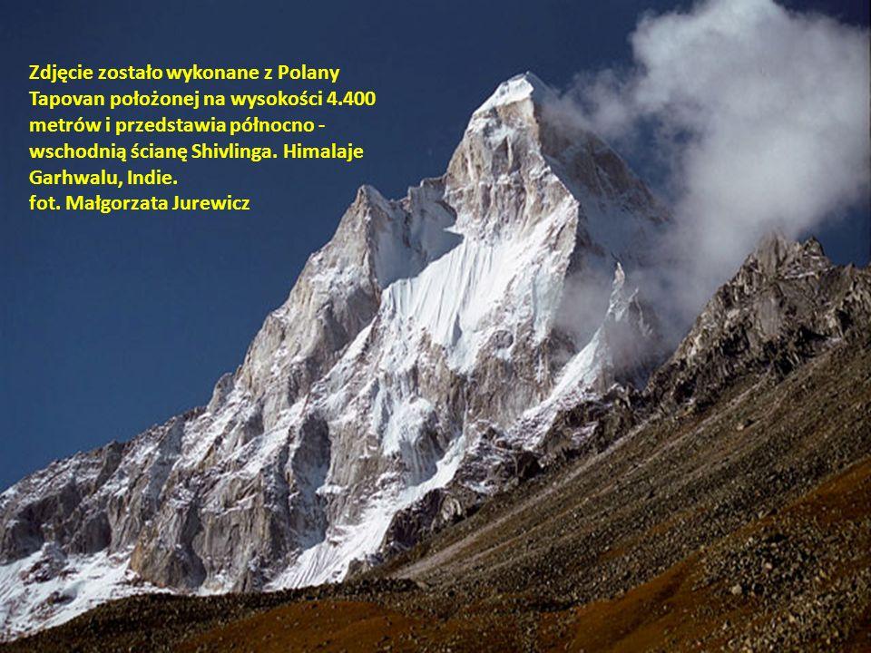 Zdjęcie zostało wykonane z Polany Tapovan położonej na wysokości 4.400 metrów i przedstawia północno - wschodnią ścianę Shivlinga. Himalaje Garhwalu,