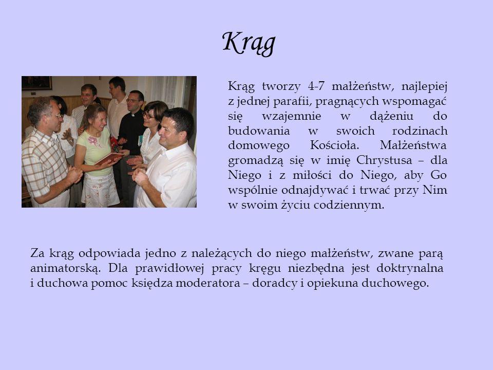 Krąg Krąg tworzy 4-7 małżeństw, najlepiej z jednej parafii, pragnących wspomagać się wzajemnie w dążeniu do budowania w swoich rodzinach domowego Kośc