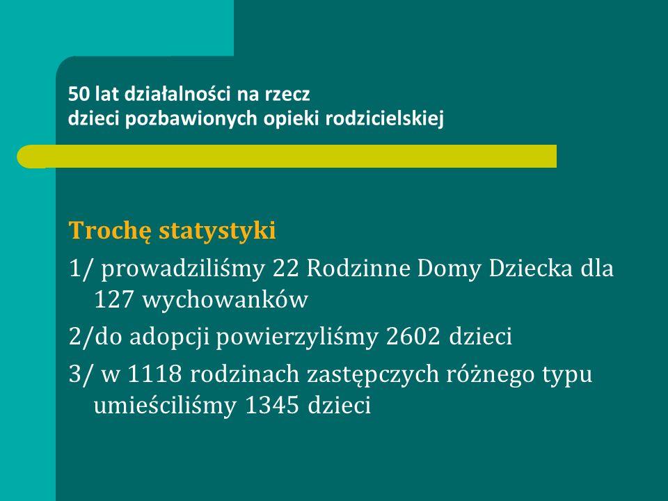 Trochę statystyki 1/ prowadziliśmy 22 Rodzinne Domy Dziecka dla 127 wychowanków 2/do adopcji powierzyliśmy 2602 dzieci 3/ w 1118 rodzinach zastępczych różnego typu umieściliśmy 1345 dzieci