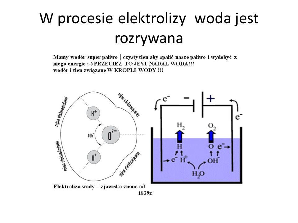 W procesie elektrolizy woda jest rozrywana