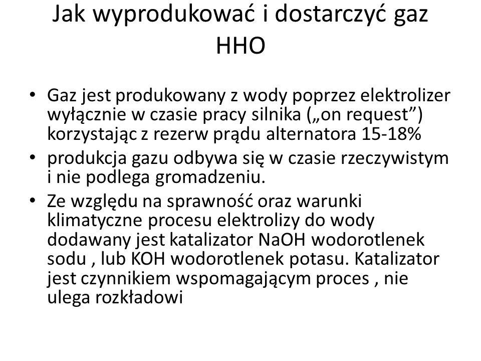 Jak wyprodukować i dostarczyć gaz HHO Gaz jest produkowany z wody poprzez elektrolizer wyłącznie w czasie pracy silnika (on request) korzystając z rez