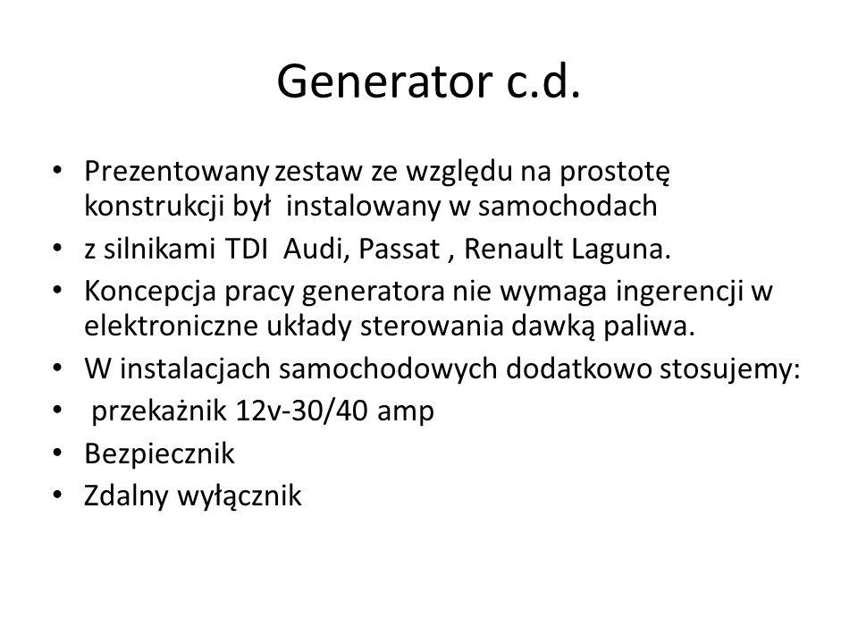 Generator c.d. Prezentowany zestaw ze względu na prostotę konstrukcji był instalowany w samochodach z silnikami TDI Audi, Passat, Renault Laguna. Konc