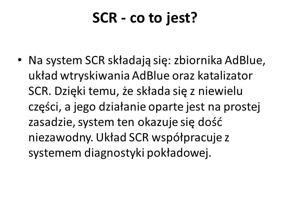 SCR - co to jest? Na system SCR składają się: zbiornika AdBlue, układ wtryskiwania AdBlue oraz katalizator SCR. Dzięki temu, że składa się z niewielu