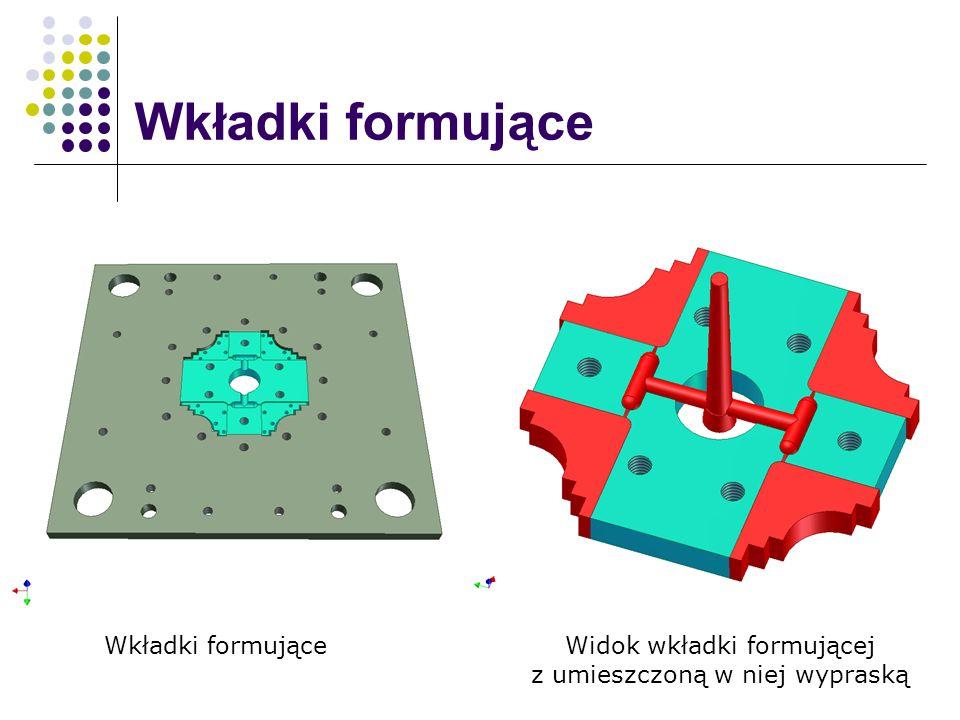 Wkładki formujące Widok wkładki formującej z umieszczoną w niej wypraską