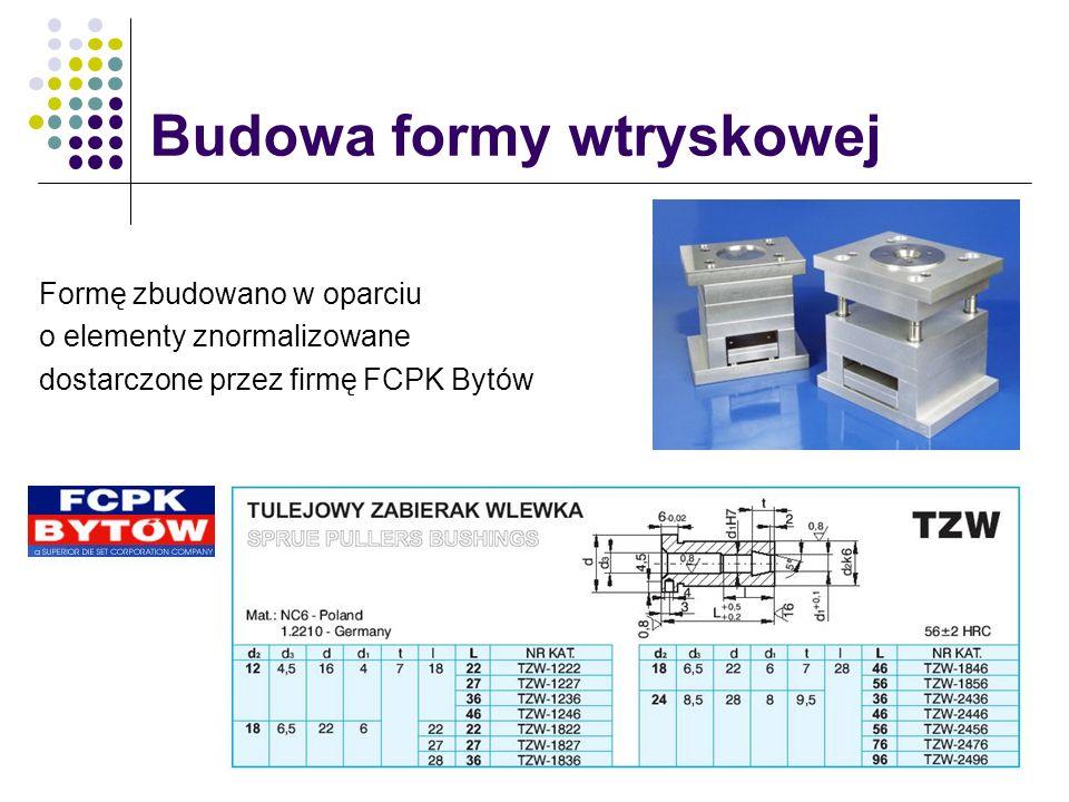 Formę zbudowano w oparciu o elementy znormalizowane dostarczone przez firmę FCPK Bytów Budowa formy wtryskowej