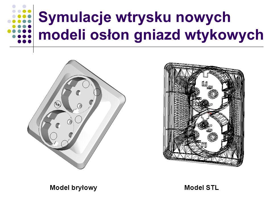 Symulacje wtrysku nowych modeli osłon gniazd wtykowych Model bryłowyModel STL