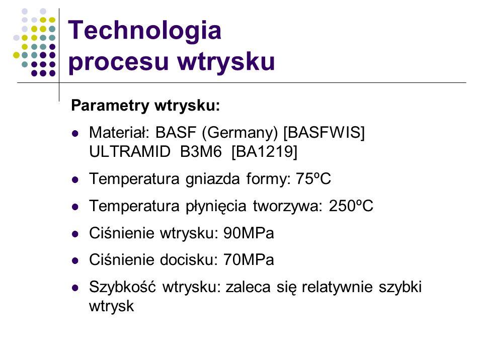 Technologia procesu wtrysku Parametry wtrysku: Materiał: BASF (Germany) [BASFWIS] ULTRAMID B3M6 [BA1219] Temperatura gniazda formy: 75ºC Temperatura p