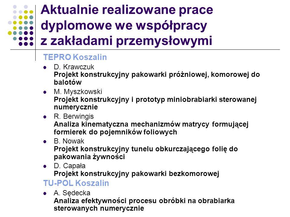 Aktualnie realizowane prace dyplomowe we współpracy z zakładami przemysłowymi TEPRO Koszalin D. Krawczuk Projekt konstrukcyjny pakowarki próżniowej, k