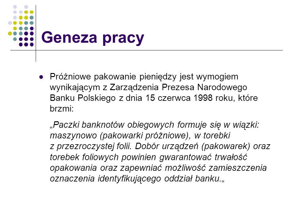 Próżniowe pakowanie pieniędzy jest wymogiem wynikającym z Zarządzenia Prezesa Narodowego Banku Polskiego z dnia 15 czerwca 1998 roku, które brzmi: Pac