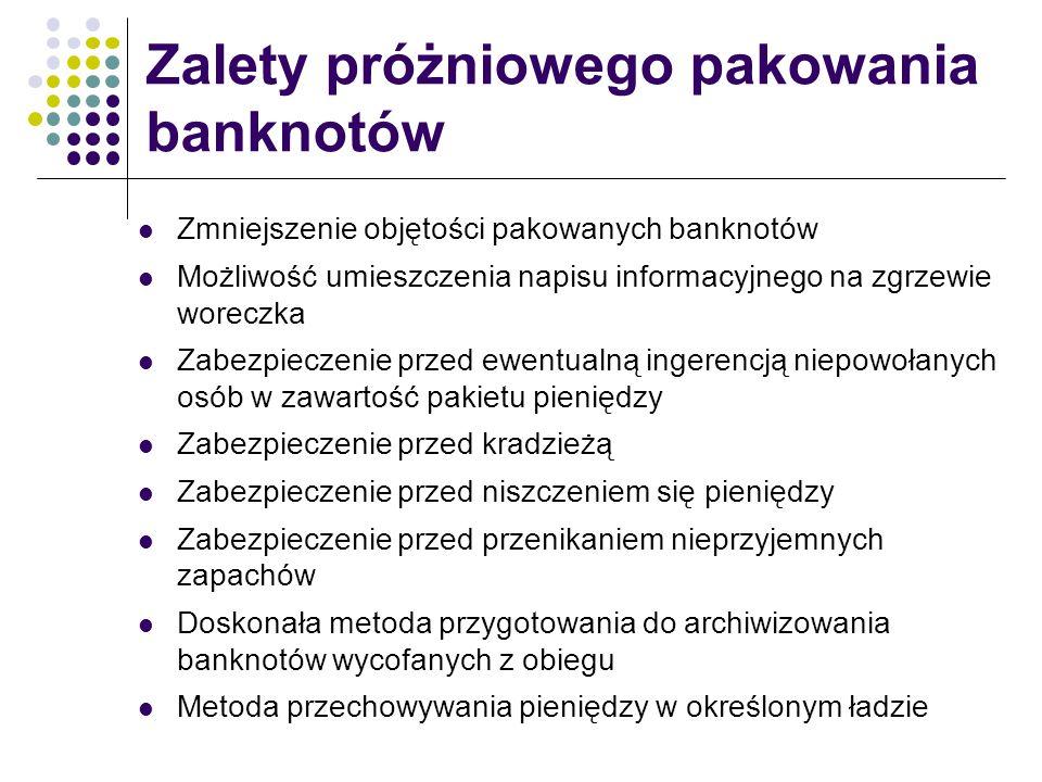 Zmniejszenie objętości pakowanych banknotów Możliwość umieszczenia napisu informacyjnego na zgrzewie woreczka Zabezpieczenie przed ewentualną ingerenc