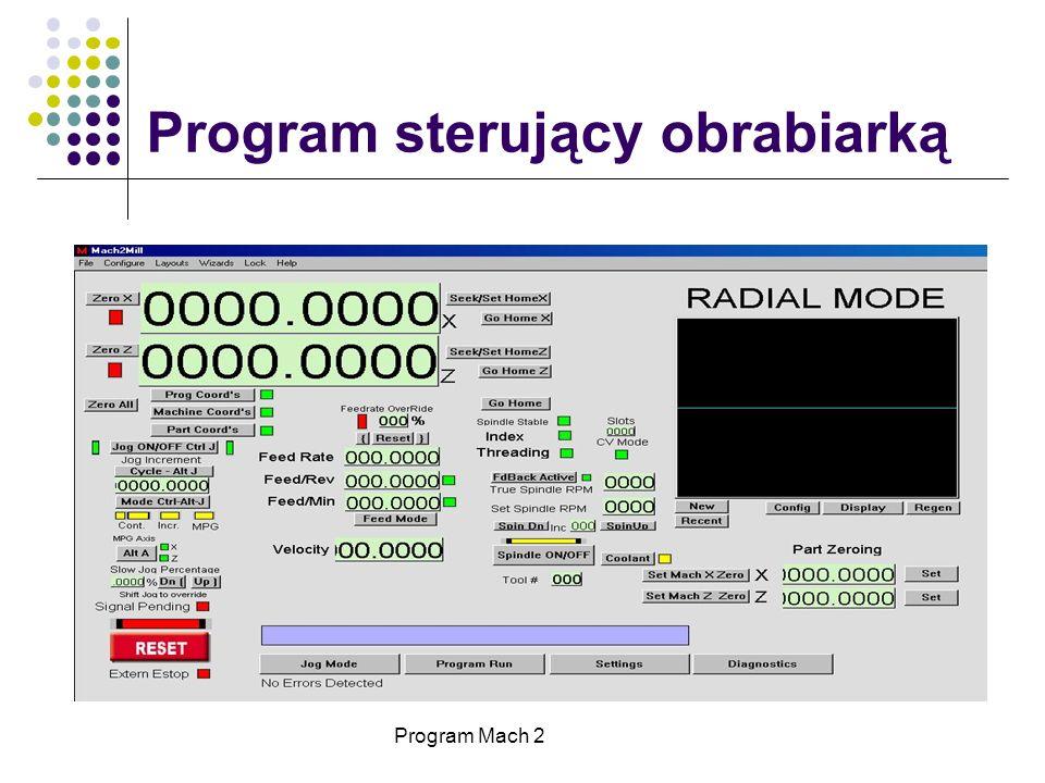 Program sterujący obrabiarką Program Mach 2