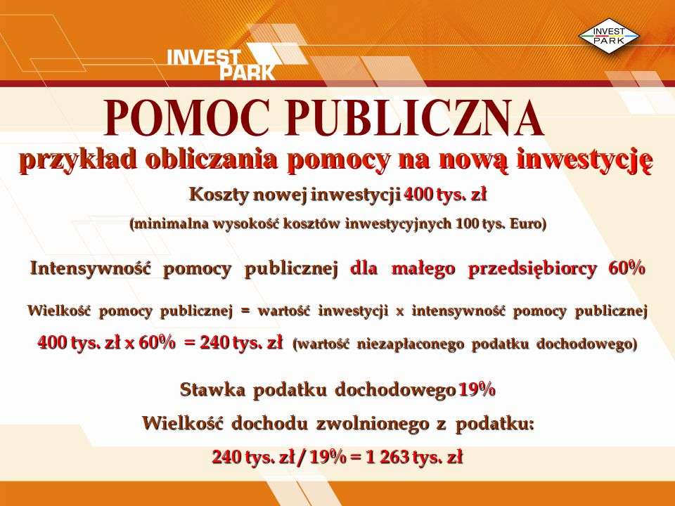 Koszty nowej inwestycji 400 tys.zł (minimalna wysokość kosztów inwestycyjnych 100 tys.