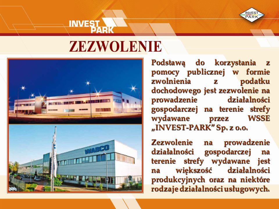 Podstawą do korzystania z pomocy publicznej w formie zwolnienia z podatku dochodowego jest zezwolenie na prowadzenie działalności gospodarczej na terenie strefy wydawane przez WSSE INVEST-PARK Sp.