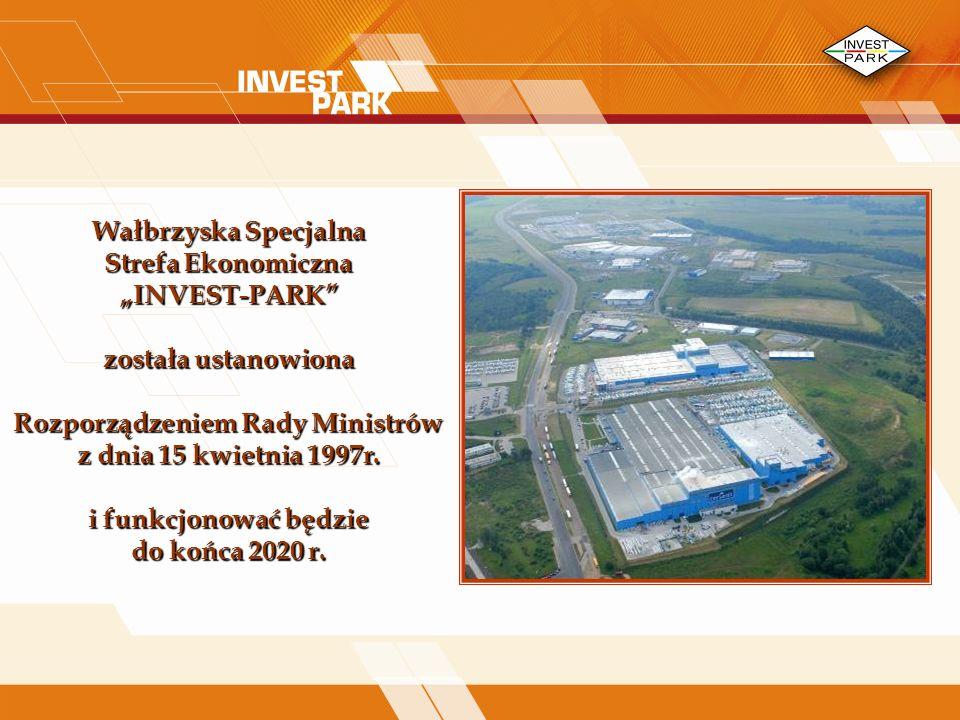 Wałbrzyska Specjalna Strefa Ekonomiczna INVEST-PARK została ustanowiona Rozporządzeniem Rady Ministrów z dnia 15 kwietnia 1997r.