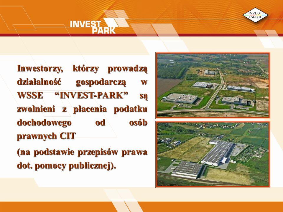Inwestorzy, którzy prowadzą działalność gospodarczą w WSSE INVEST-PARK są zwolnieni z płacenia podatku dochodowego od osób prawnych CIT (na podstawie przepisów prawa dot.
