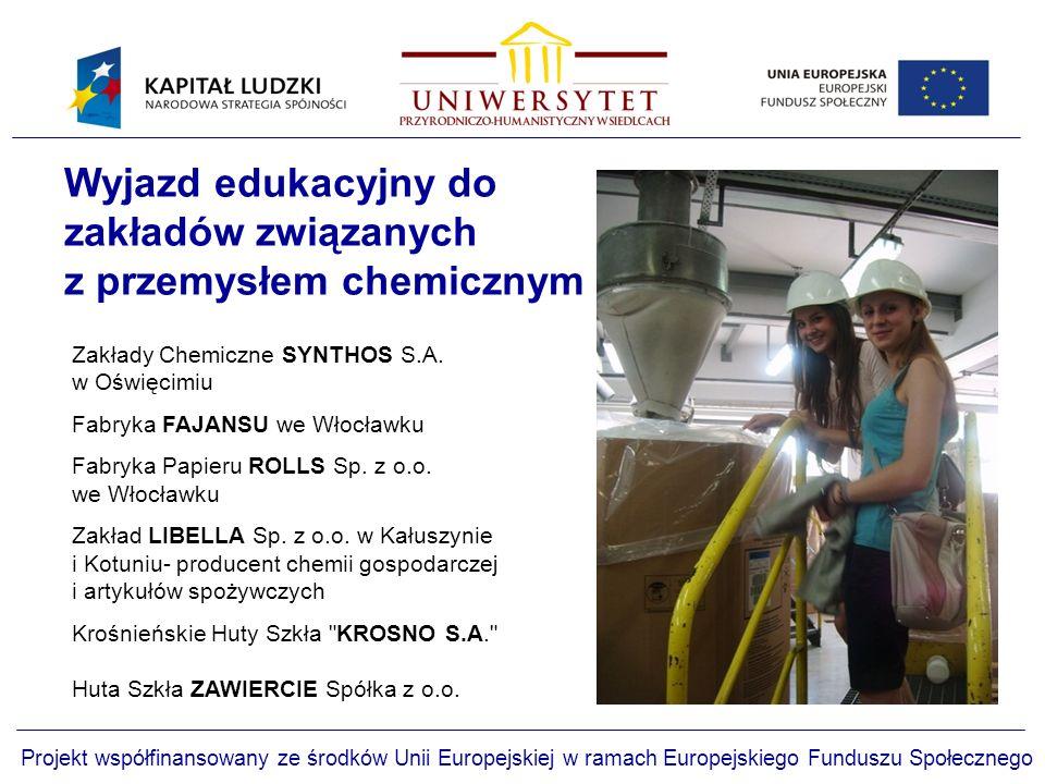 Zakłady Chemiczne SYNTHOS S.A.w Oświęcimiu Fabryka FAJANSU we Włocławku Fabryka Papieru ROLLS Sp.