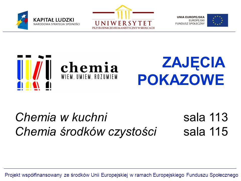 Projekt współfinansowany ze środków Unii Europejskiej w ramach Europejskiego Funduszu Społecznego ZAJĘCIA POKAZOWE Chemia w kuchni sala 113 Chemia środków czystości sala 115