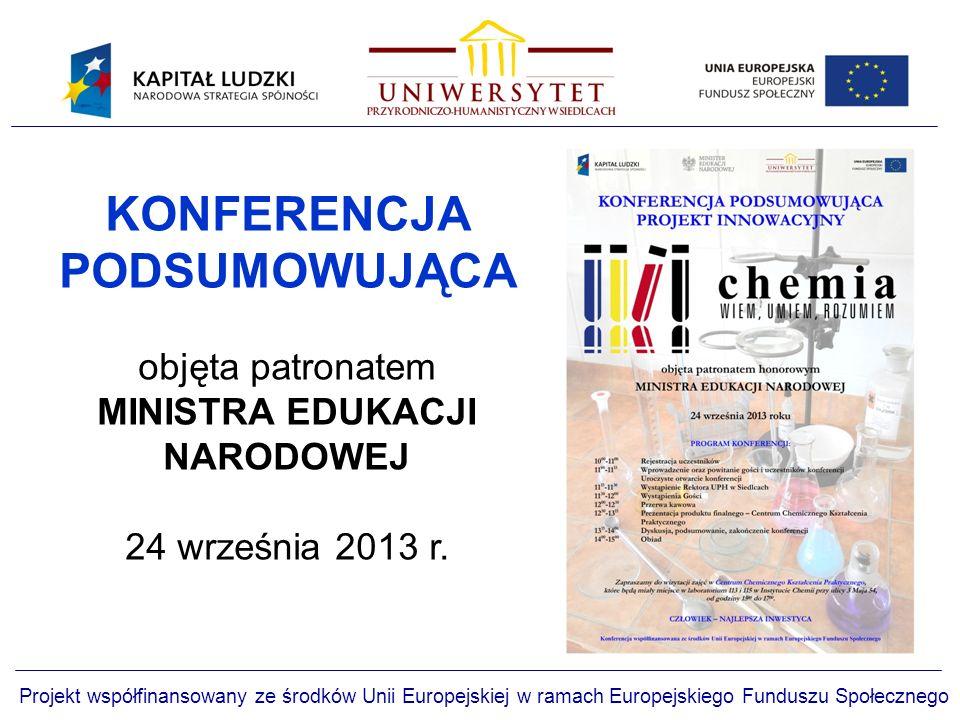 Projekt współfinansowany ze środków Unii Europejskiej w ramach Europejskiego Funduszu Społecznego KONFERENCJA PODSUMOWUJĄCA objęta patronatem MINISTRA EDUKACJI NARODOWEJ 24 września 2013 r.